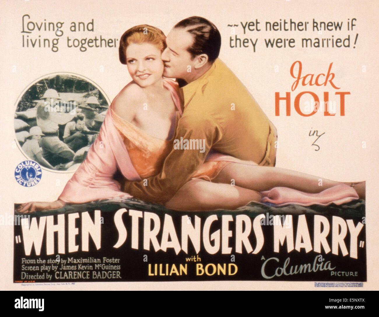 Lorsque DES ÉTRANGERS SE MARIER, US, lobbycard Lilian Bond, Jack Holt, 1933 Photo Stock