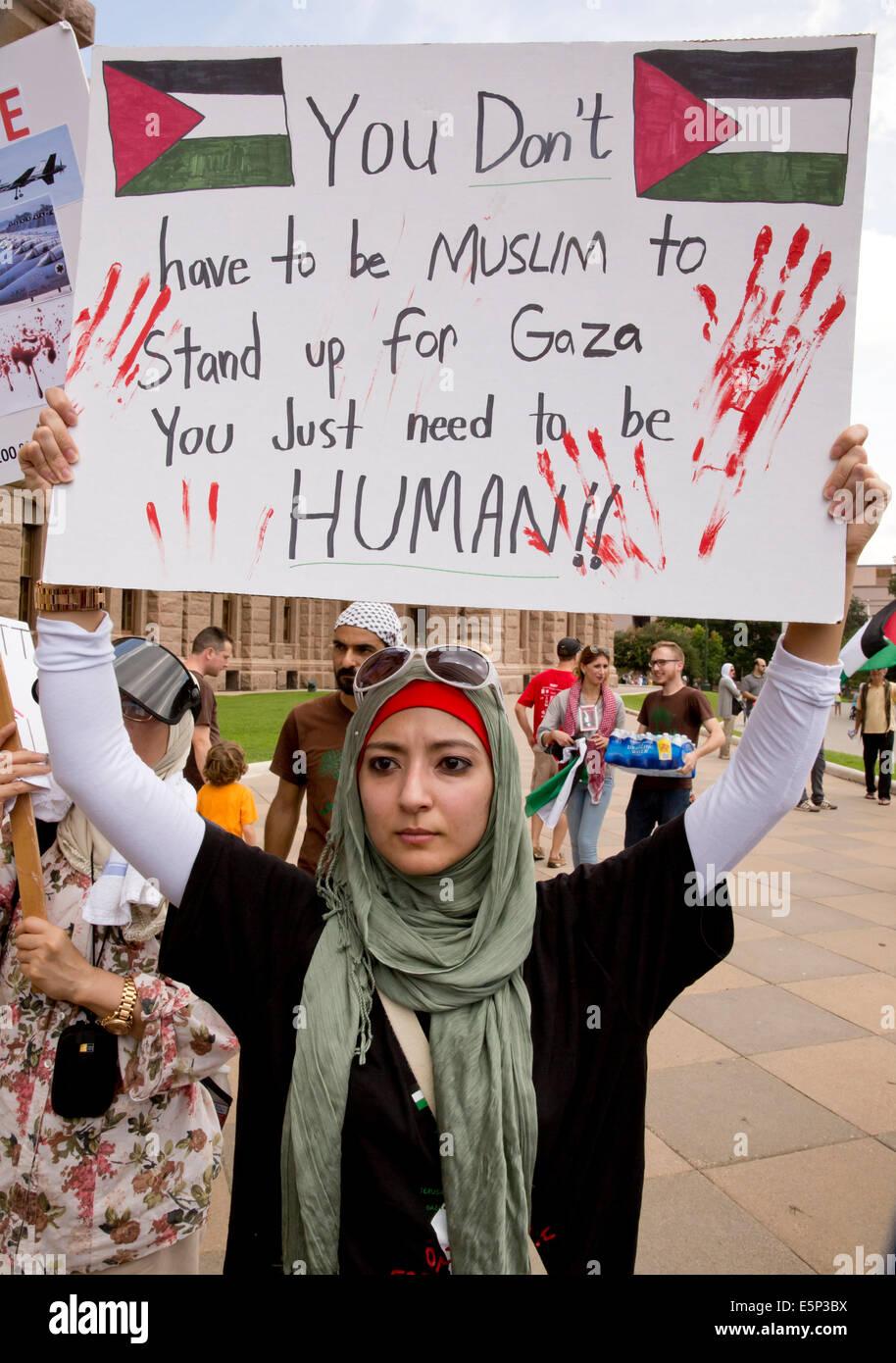Rassemblement au Texas Capitol protestent contre Israël est siège de Gaza et de l'U.S de l'appui Photo Stock