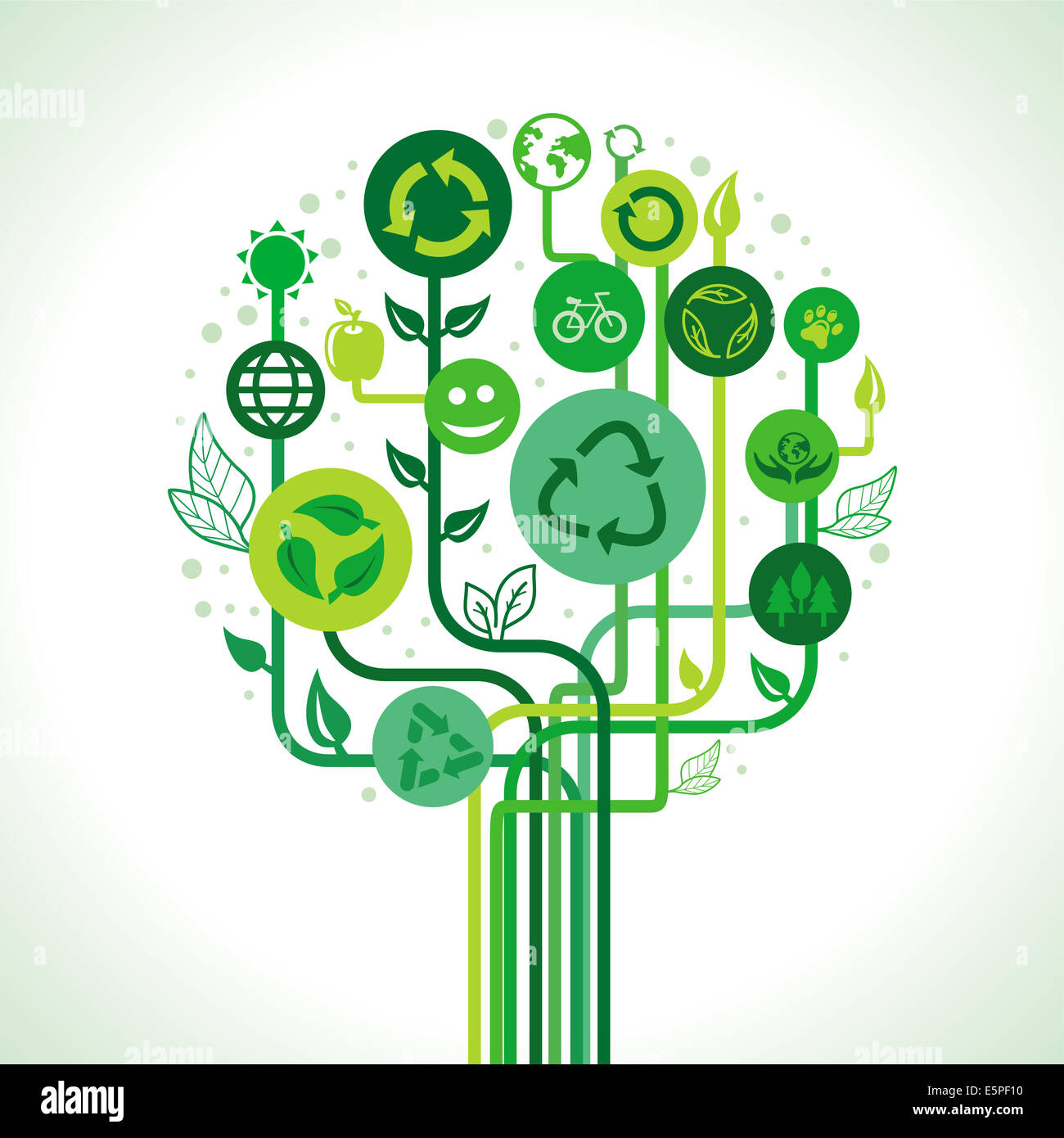 Ecology concept - abstract green tree avec recycler des signes et symboles Photo Stock