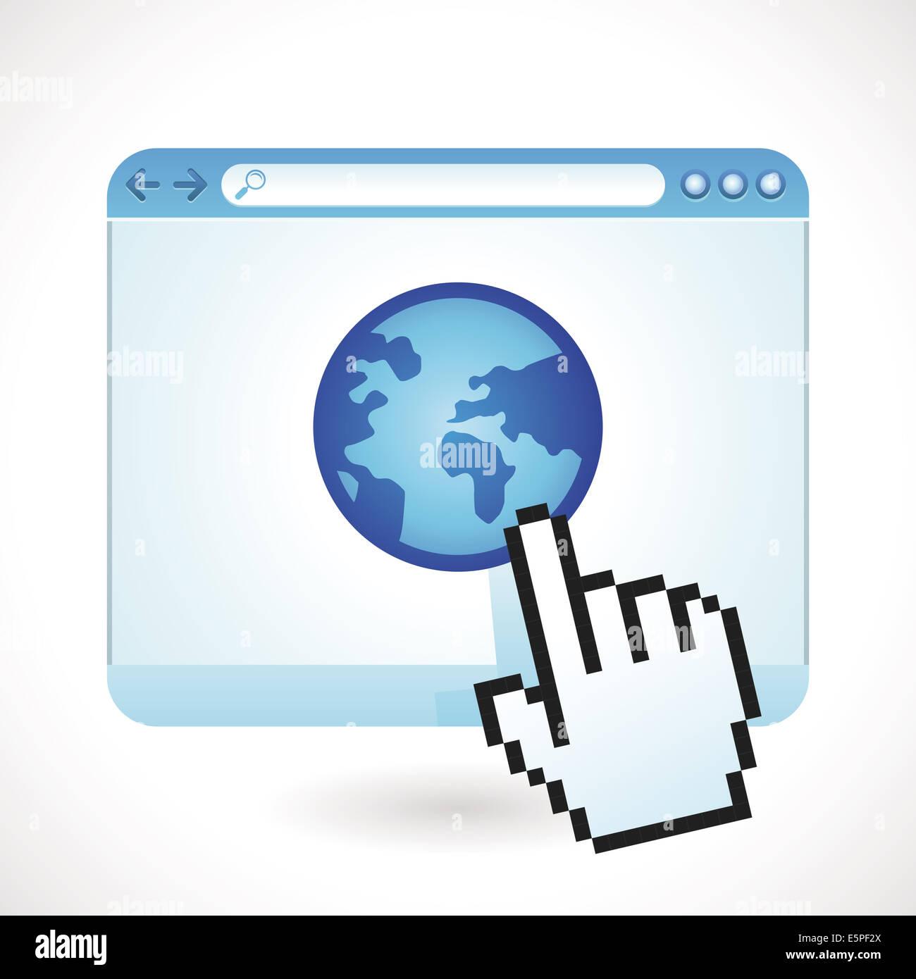 Concept - fenêtre de navigateur Internet avec icône globe Photo Stock