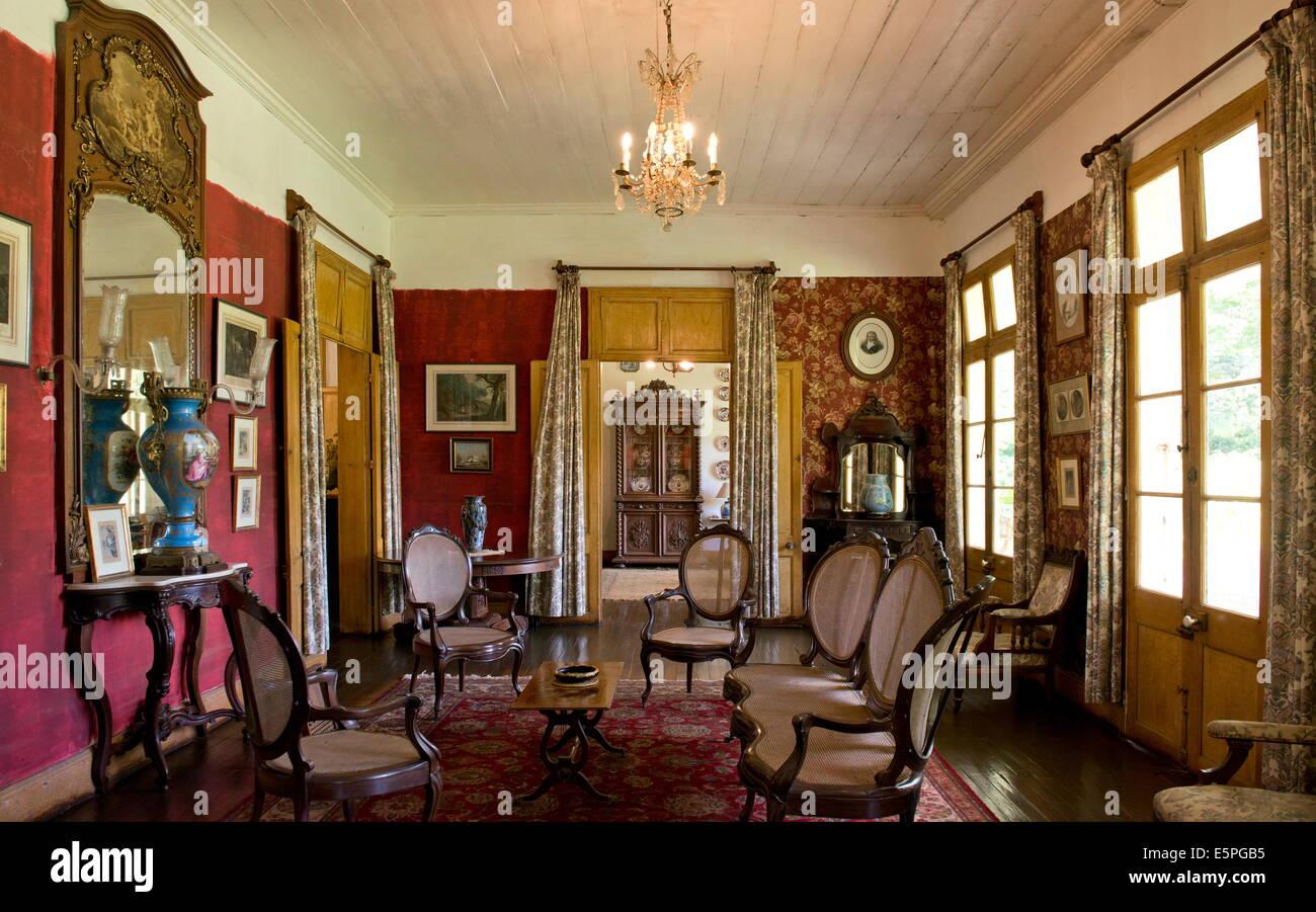 un salon lintrieur de maison eureka un btiment de style colonial construit en 1830 moka ile maurice locan indien lafrique