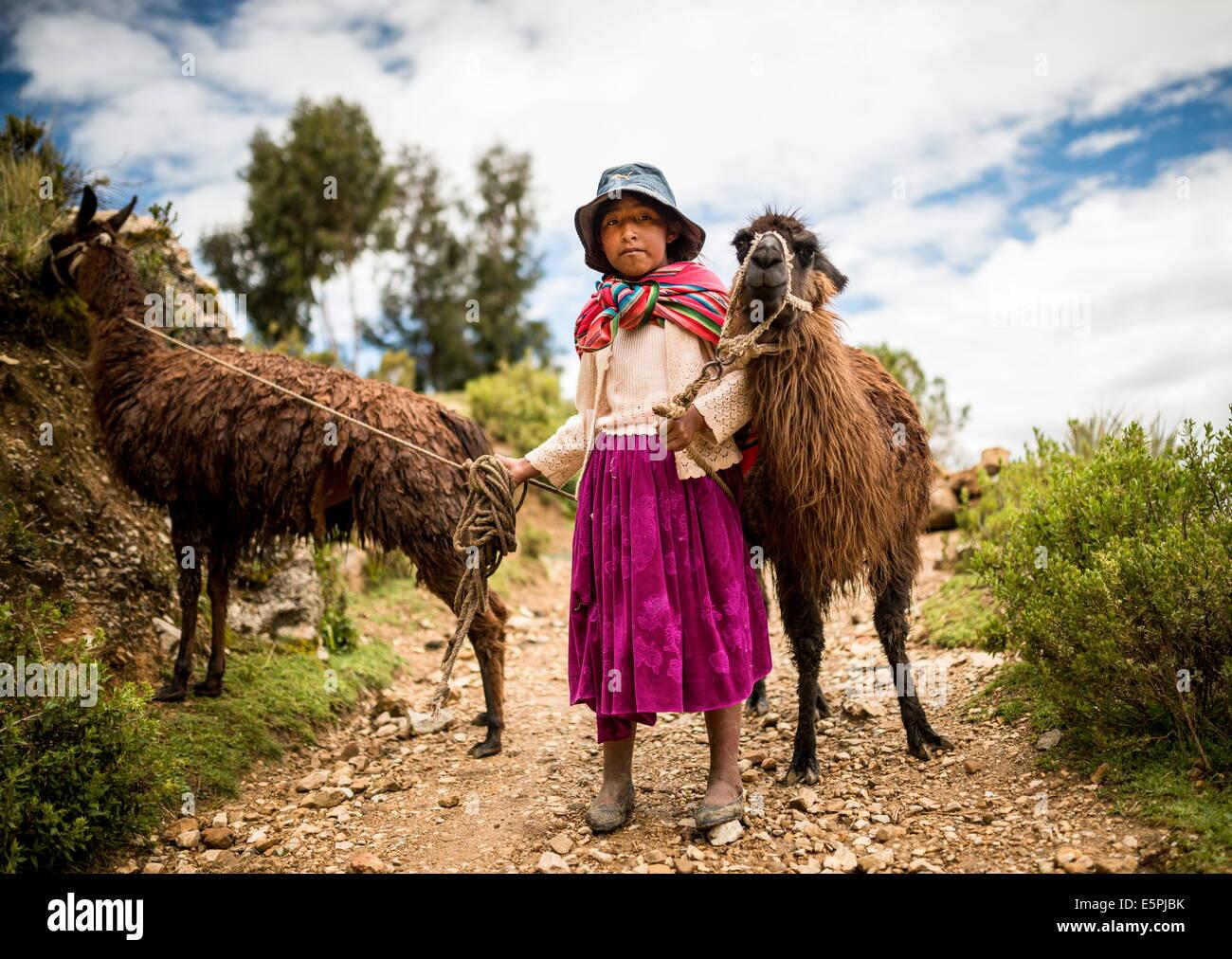 Portrait de Mariel avec ses deux lamas, Isla del Sol, le Lac Titicaca, Bolivie, Amérique du Sud Photo Stock