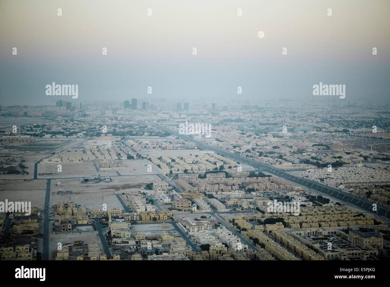 Vue aérienne de Doha du l'Aspire Tower plate-forme panoramique, Doha, Qatar, Moyen-Orient Banque D'Images