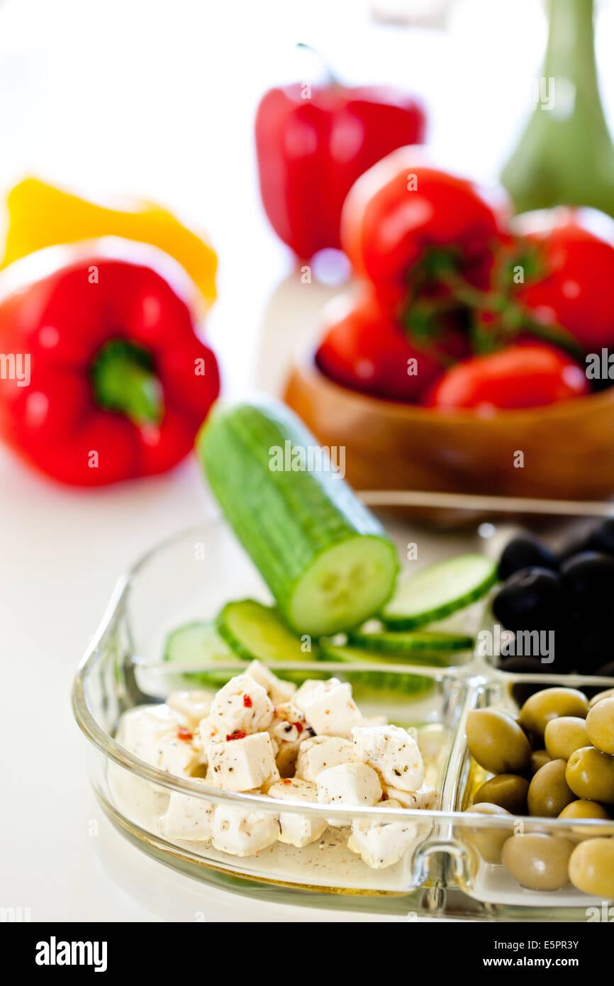 Les aliments consommés sur les rives de la Méditerranée, recommandée dans le cadre d'un Photo Stock