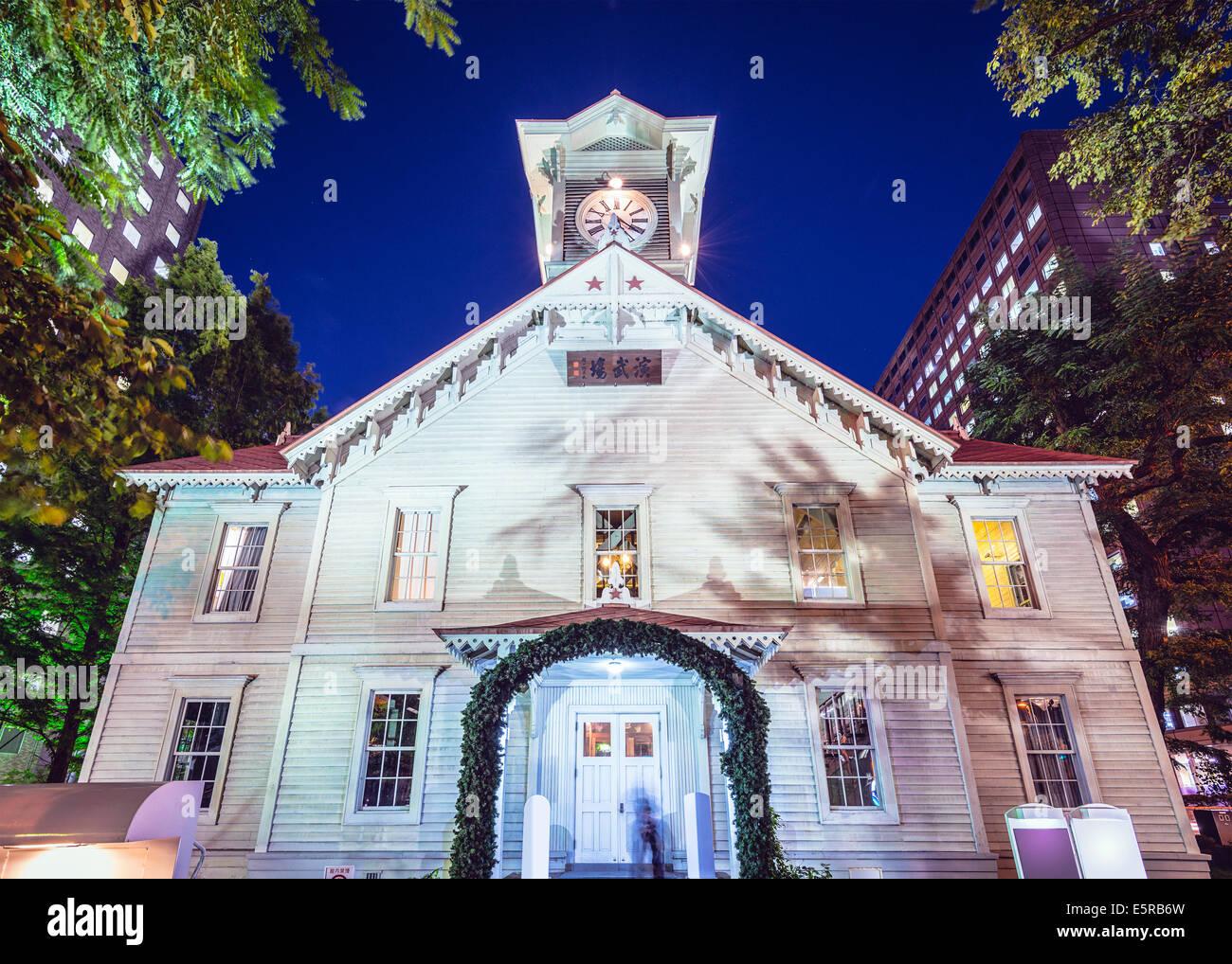 Sapporo, Japon au Sapporo chronomètrent la tour de nuit. Photo Stock