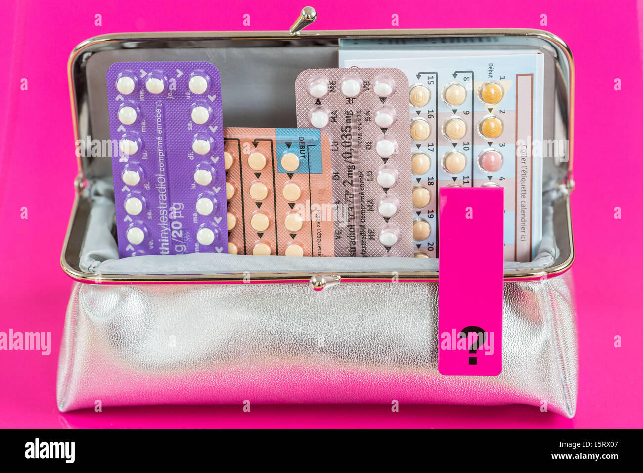 Concept des pilules contraceptives. Photo Stock