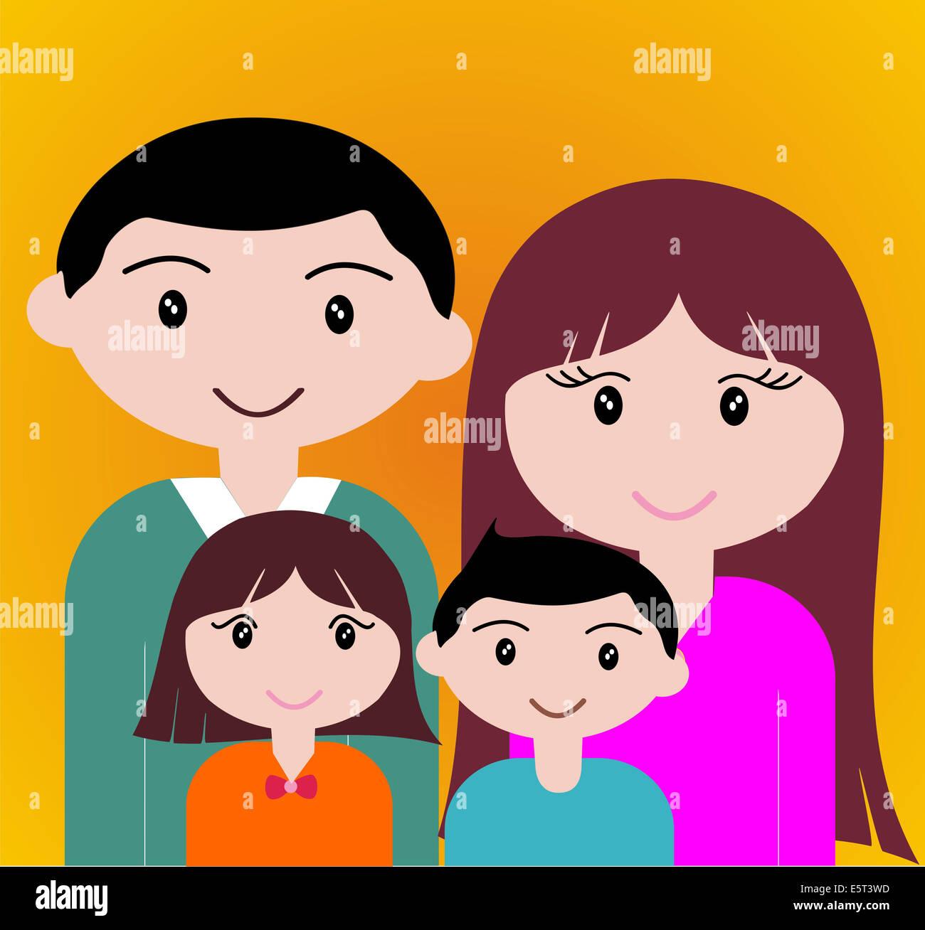 Quatre États de portrait de famille heureux ensemble. Banque D'Images