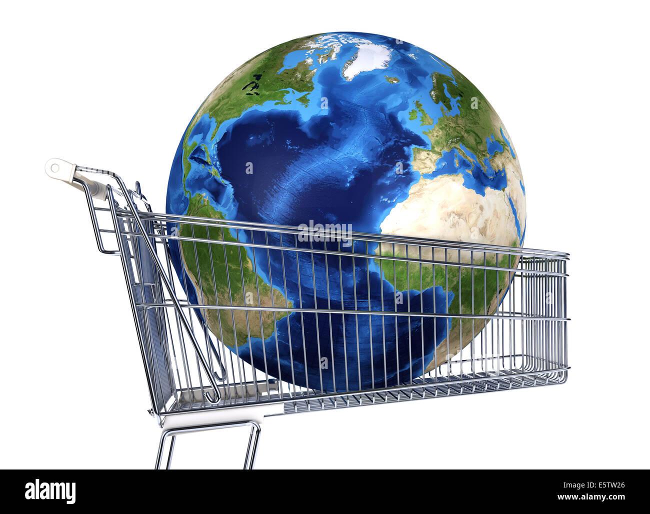 La planète Terre en chariot de supermarché. Vue de l'Atlantique. Sur fond blanc. Chemin de détourage Photo Stock