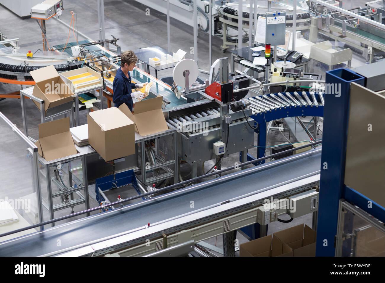 Femme mature qui travaillent dans l'usine d'emballage de papier Banque D'Images