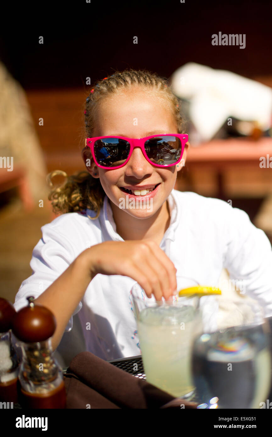 Savannah Beck jouit de son temps dans les Canyons Resort à Park City, Utah. Photo Stock