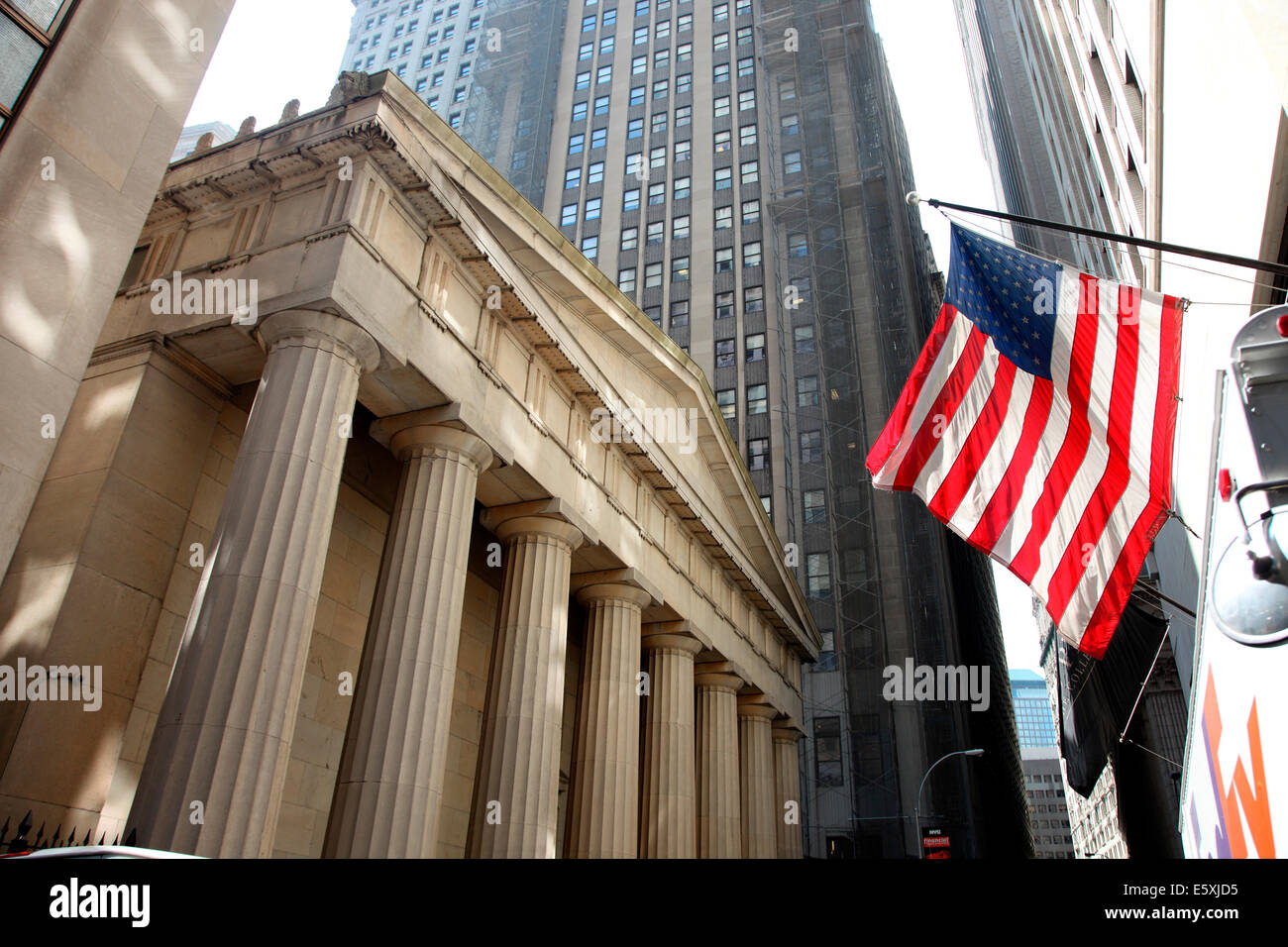 Federal Hall, Wall Street, Downtown, la ville de New York. Photo Stock