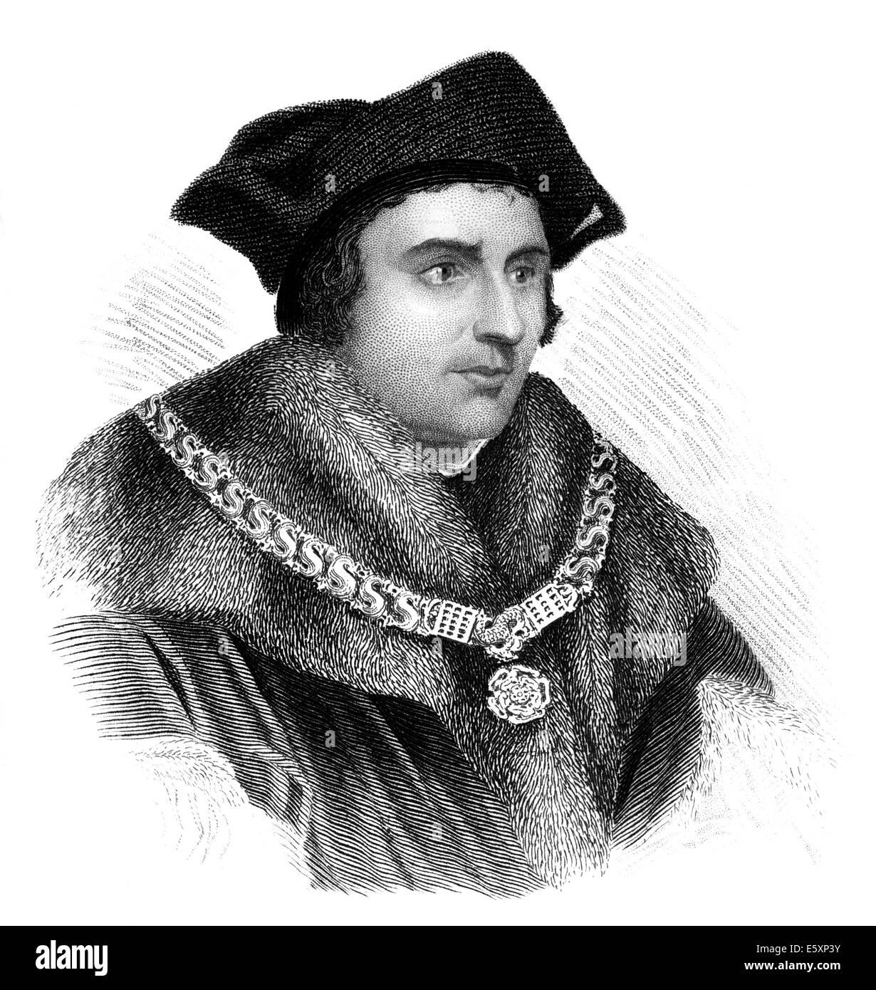 Thomas Morus ou plus, 1478 - 1535, l'État anglais, écrivain humaniste et un saint et martyr de l'Église Photo Stock