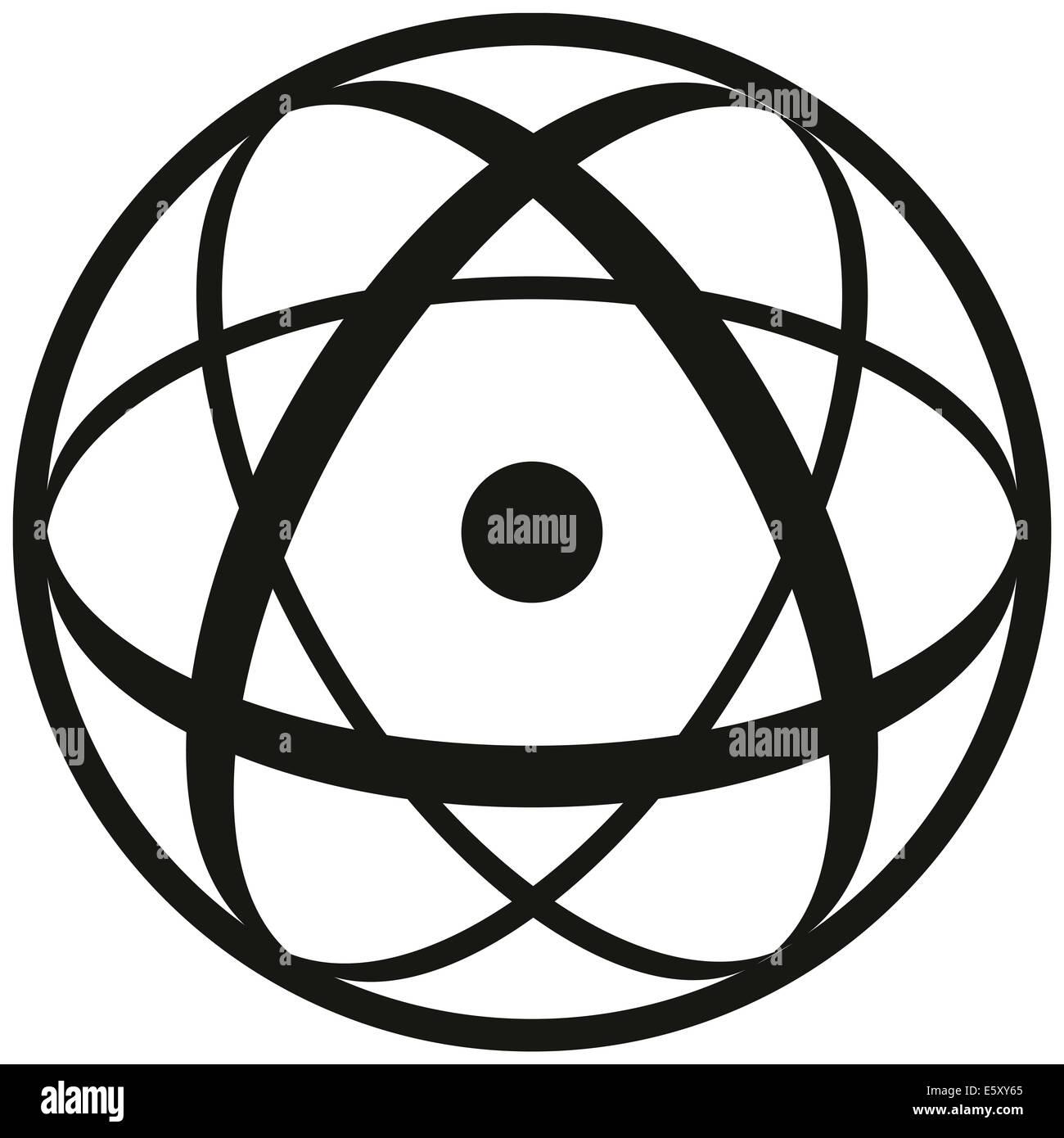 Symbole atomique composé d'un noyau de trois ellipses et un shell. Illustration noir et blanc sur fond Photo Stock