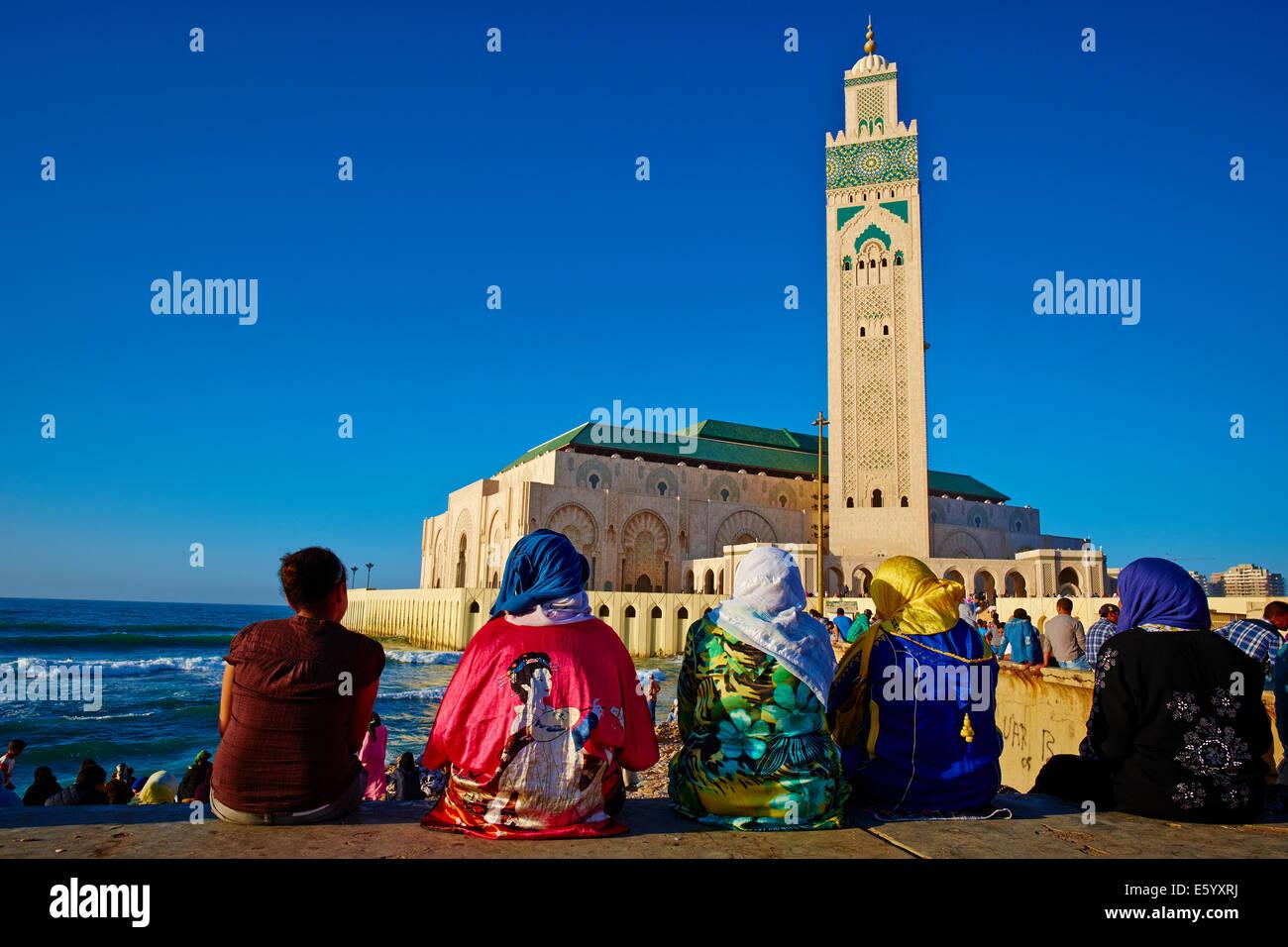 Maroc, Casablanca, la mosquée Hassan II. Banque D'Images