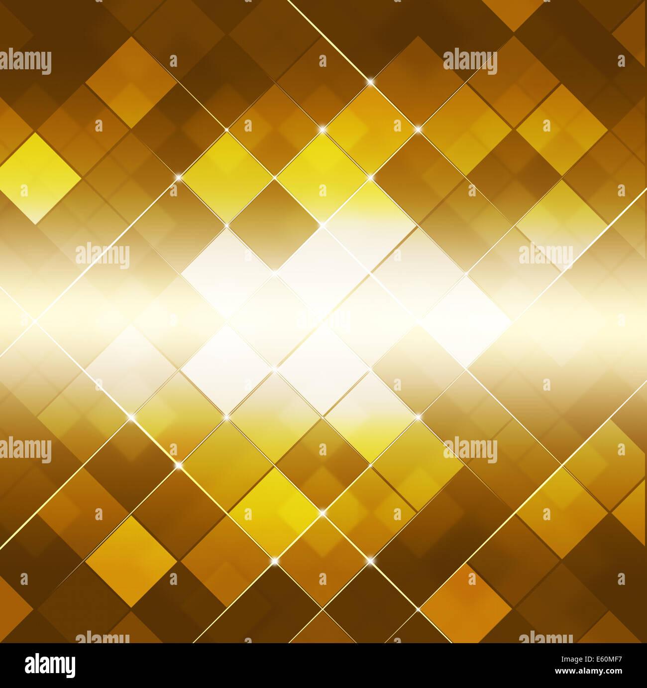 Abstract glowing golden point carré arrière-plan technique Photo Stock