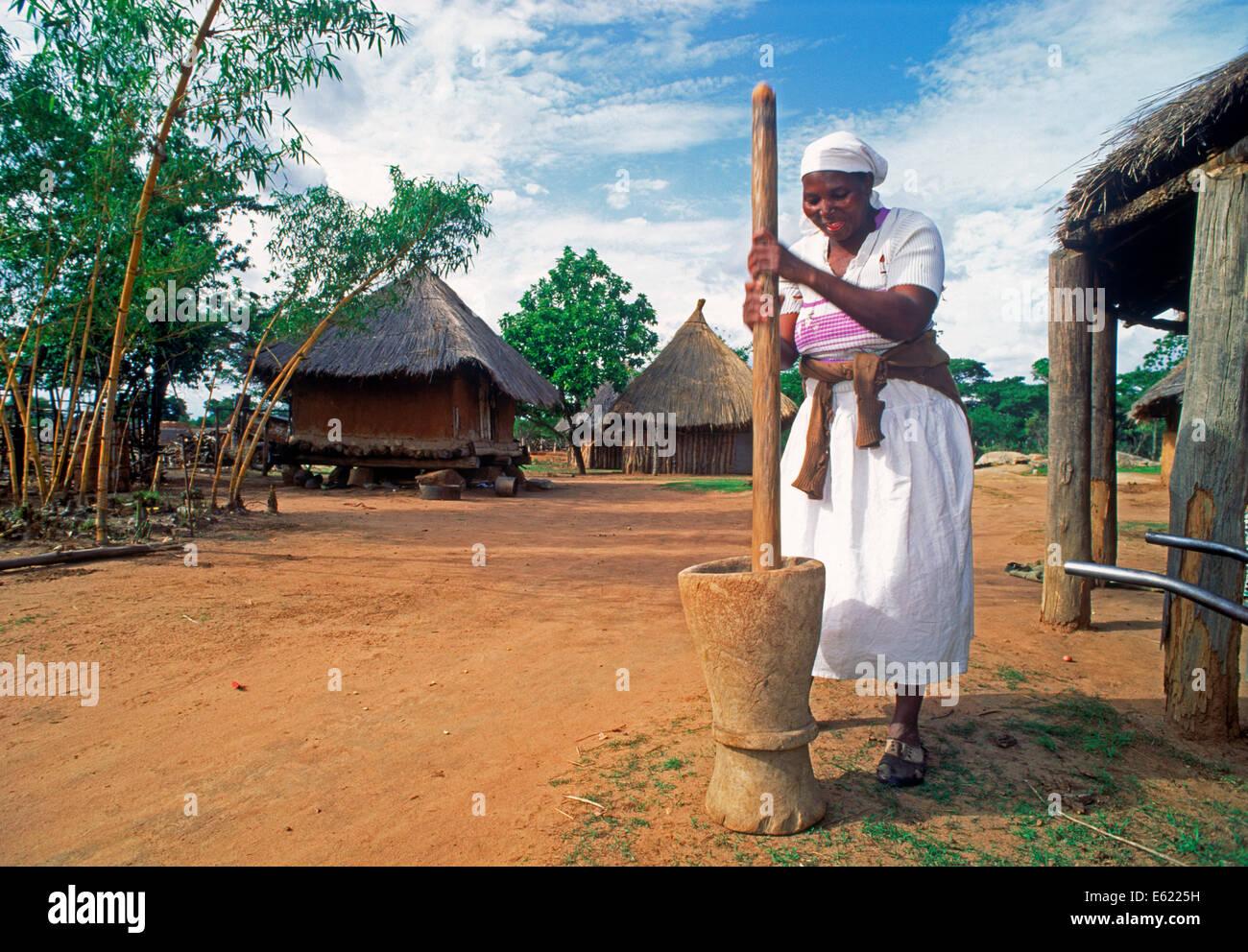 Femme battre maïs pour cornbread village au Zimbabwe Photo Stock