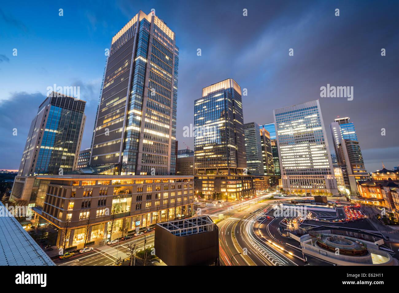 Tokyo, Japon au quartier d'affaires de Marunouchi. Photo Stock