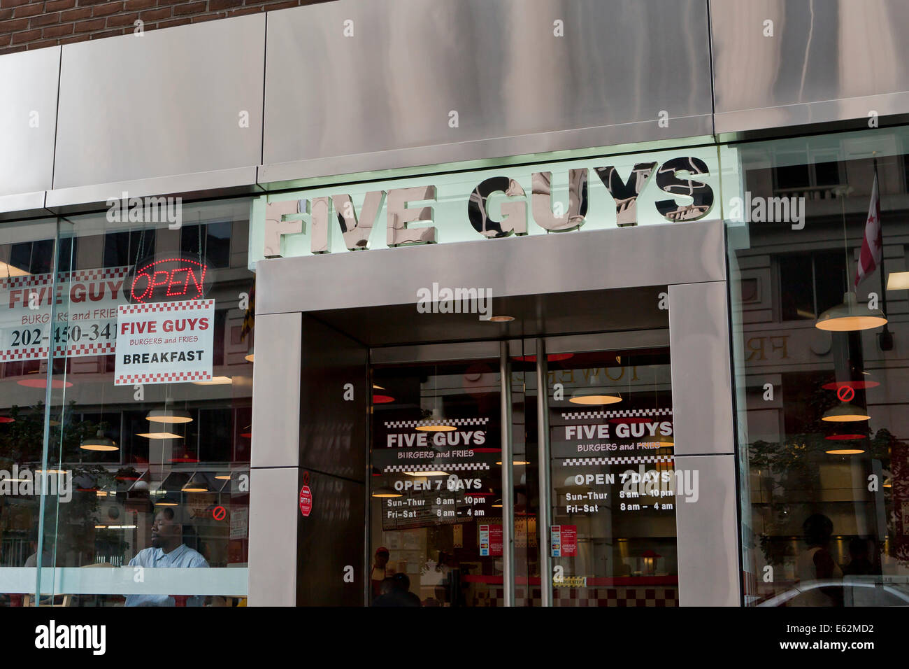 Cinq types de devanture restaurant hamburger - Washington, DC USA Photo Stock