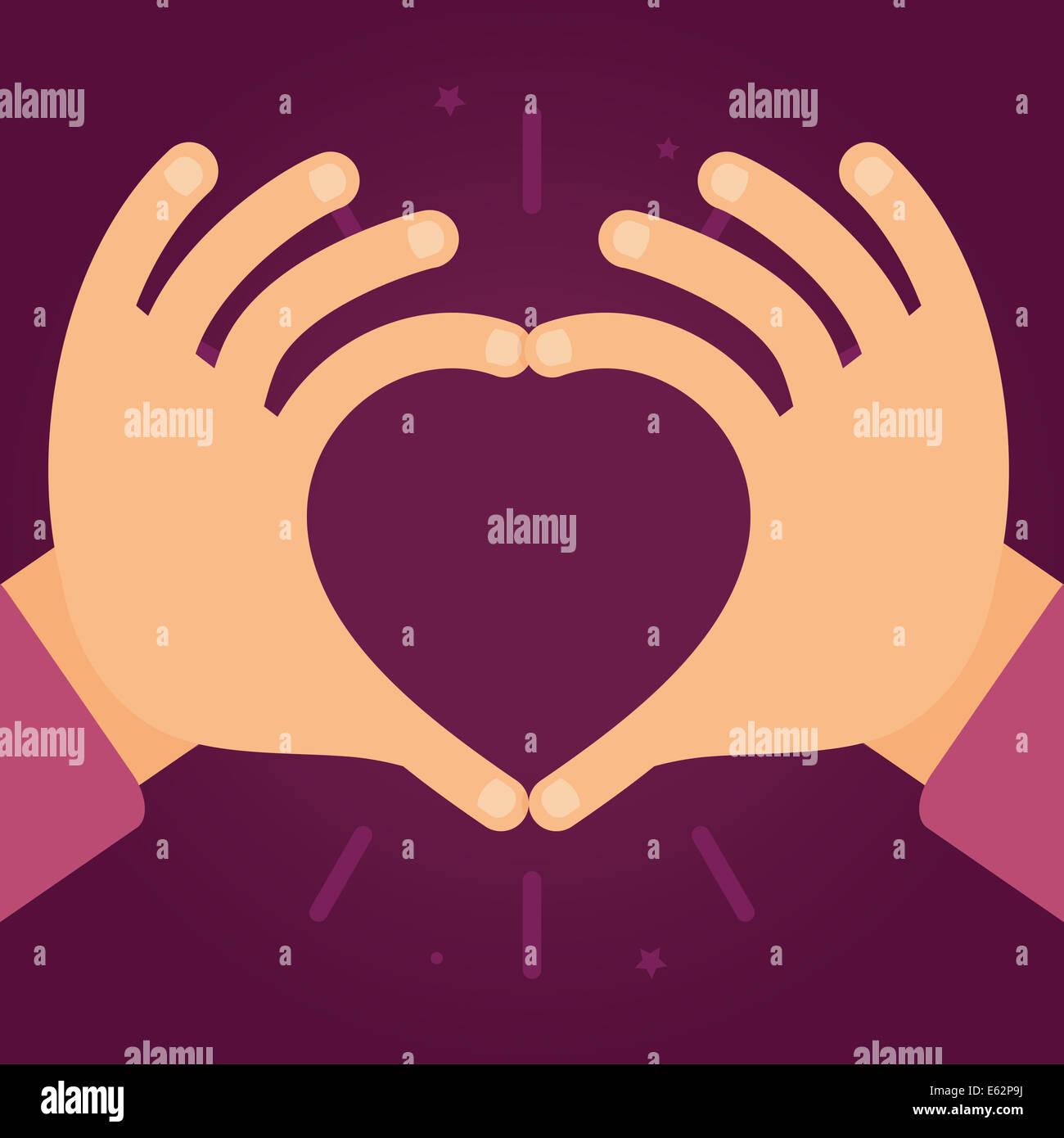 Les mains dans la forme de coeur - l'amour et la charité concept dans le style plate Photo Stock