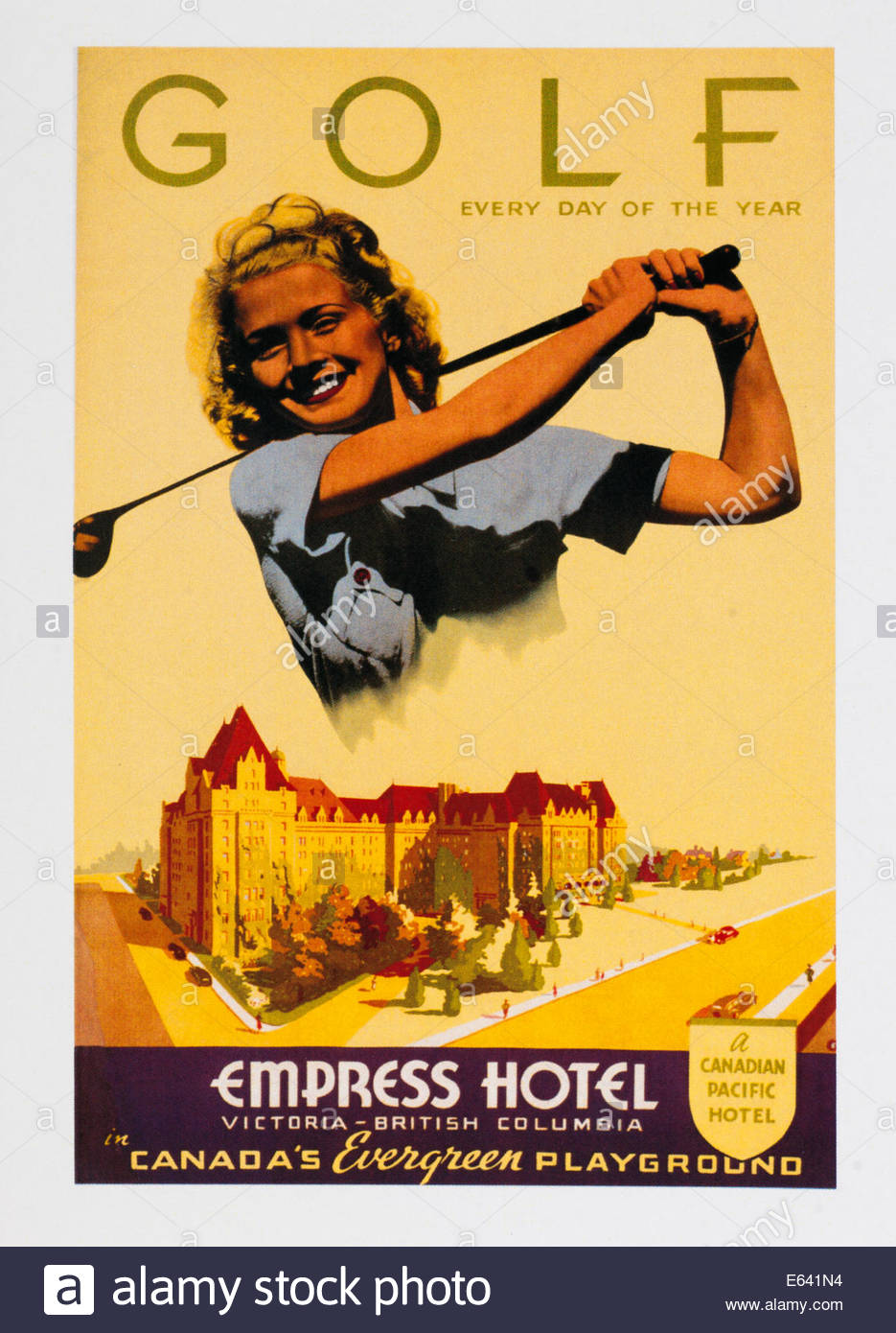 vintage voyage affiche publicitaire de golf l 39 h tel empress victoria colombie britannique. Black Bedroom Furniture Sets. Home Design Ideas