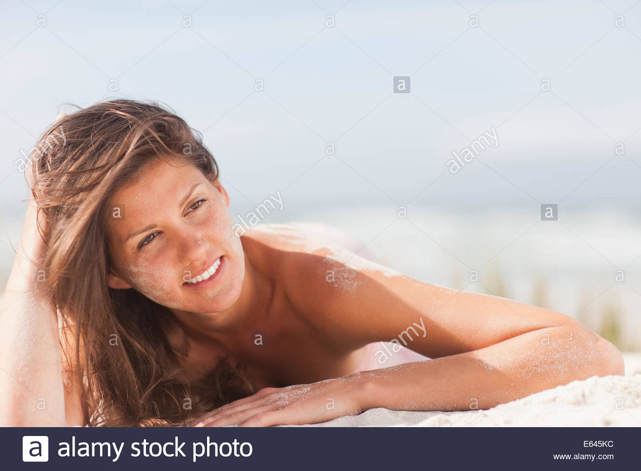 Woman on beach Photo Stock