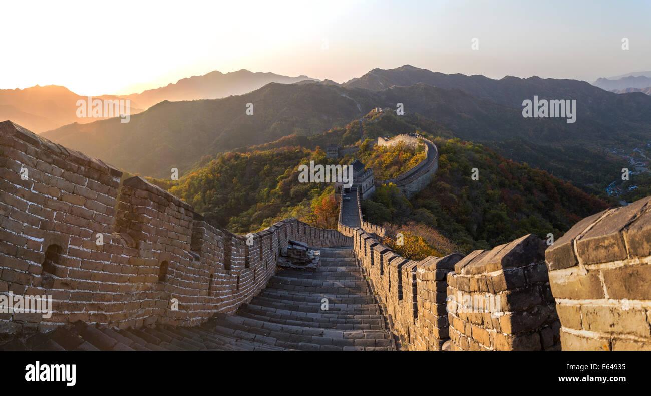 La Grande Muraille à Mutianyu nr Pékin dans la province de Hebei, Chine Photo Stock