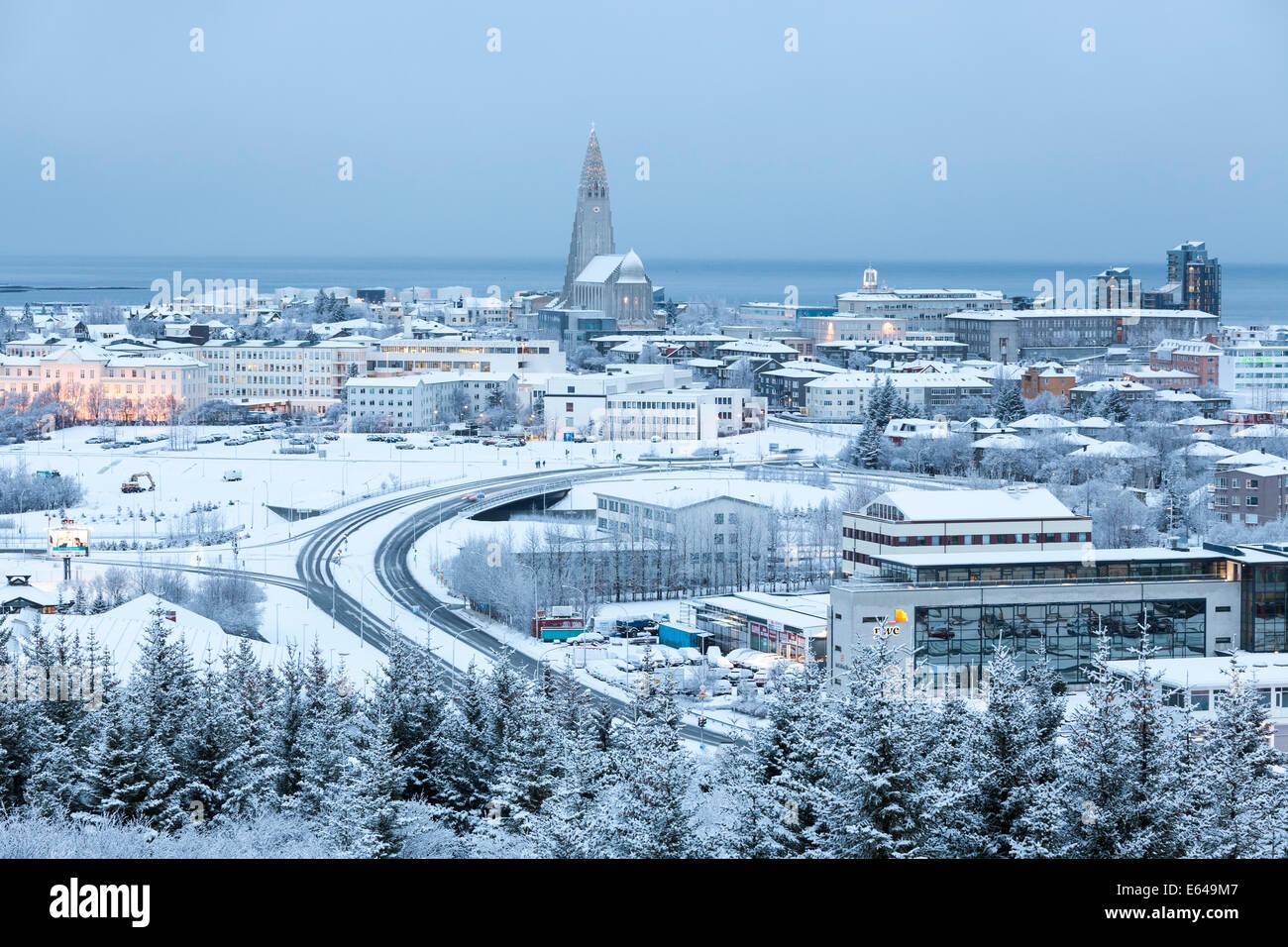Vue sur Reykjavik en hiver, l'Islande Banque D'Images