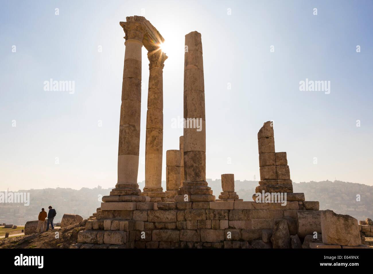 Restes du Temple d'Hercule sur la citadelle, Amman, Jordanie Photo Stock
