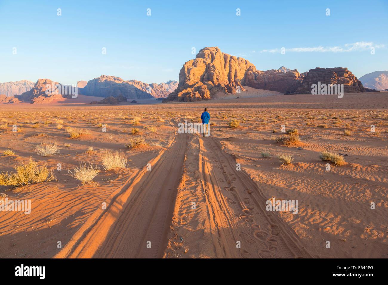 Les pistes dans le désert, Wadi Rum, Jordanie Photo Stock