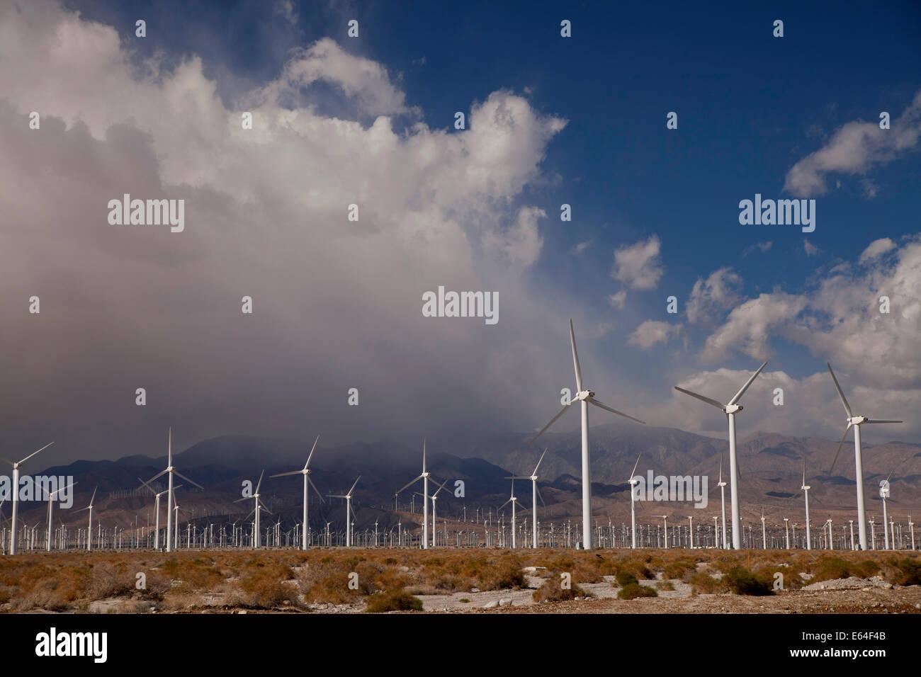 L'énergie éolienne Les moulins à vent près de Palm Springs, Californie, États-Unis Photo Stock