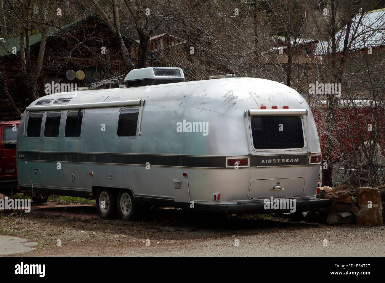 Roulotte Airstream près de Telluride, montagnes de San Juan, San Miguel County, Colorado, USA Photo Stock