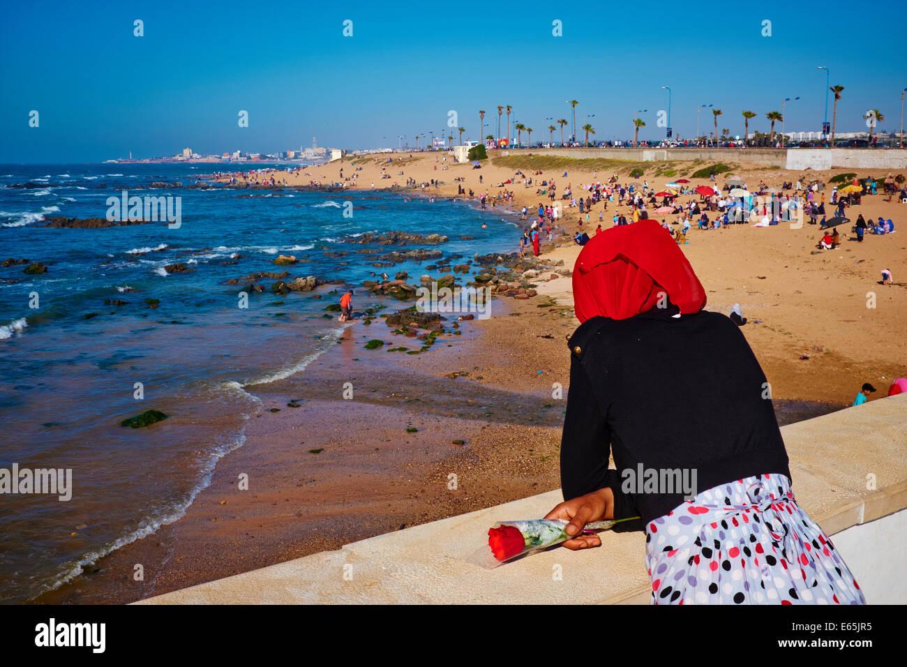 Maroc Casablanca La Plage De Ain Diab Banque Dimages