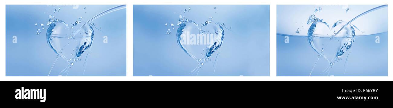 Un collage de trois coeurs bleu fait d'eau sur le blanc. Photo Stock