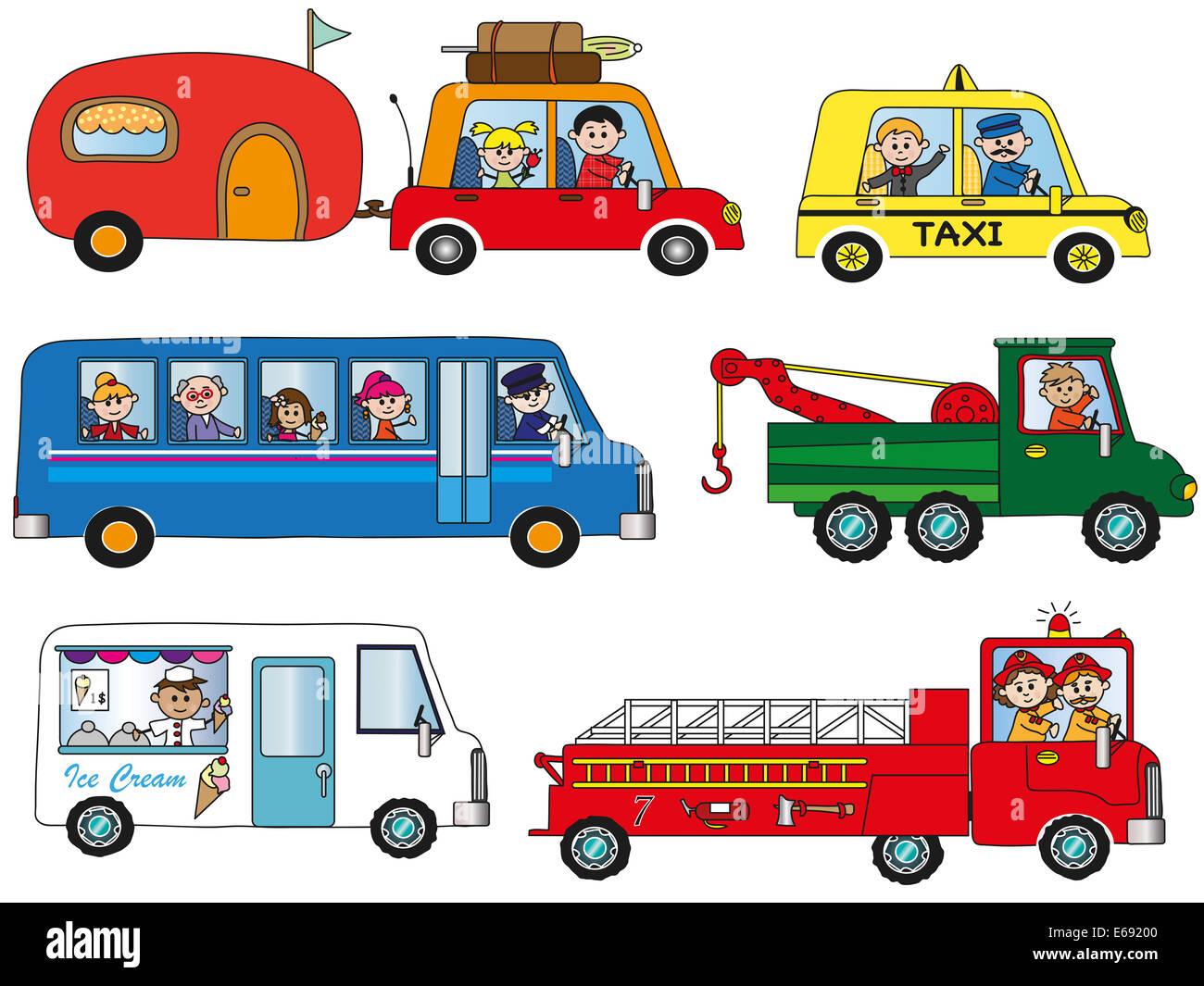 Illustration De Funny Cartoon Transportation Banque D Images Photo