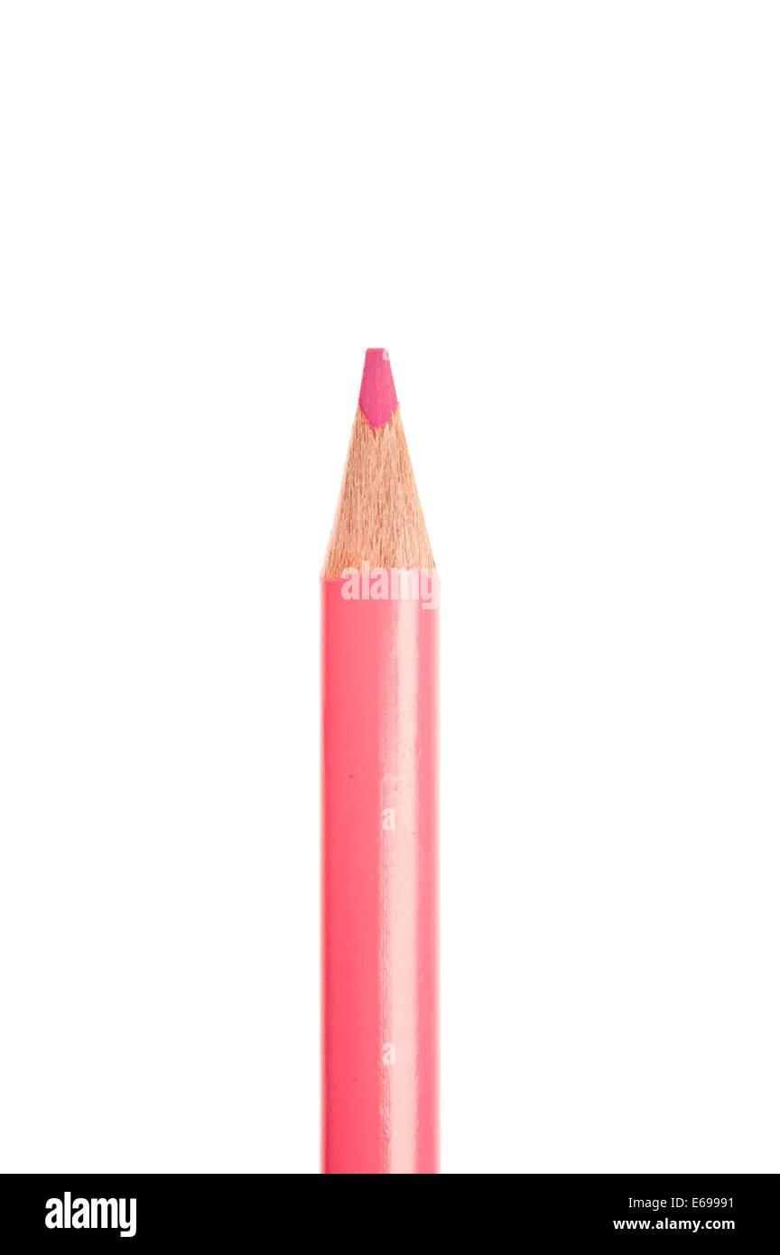 Crayon de couleur rose isolated Photo Stock