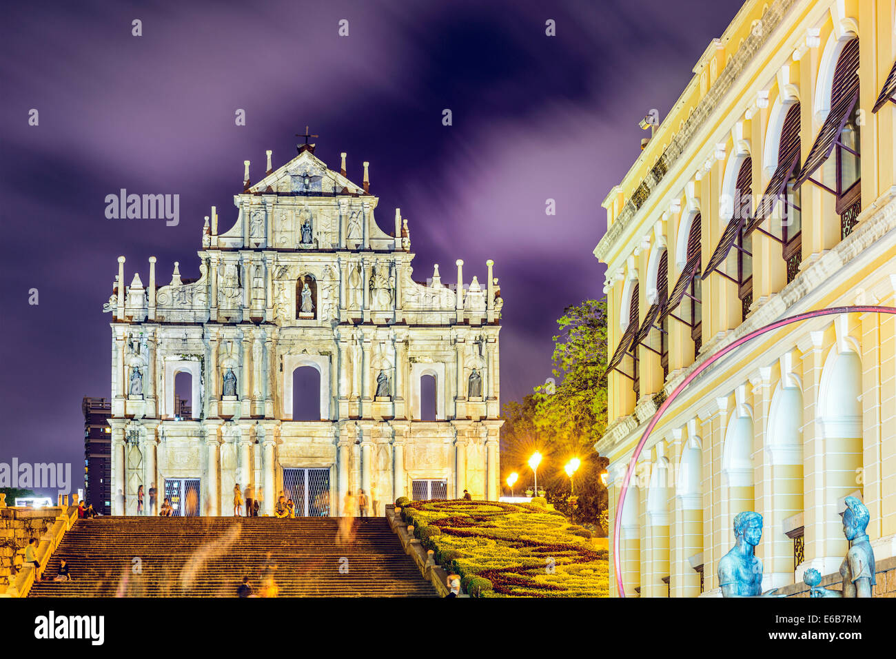 Macao, Chine dans les ruines de la Cathédrale St Paul. Photo Stock
