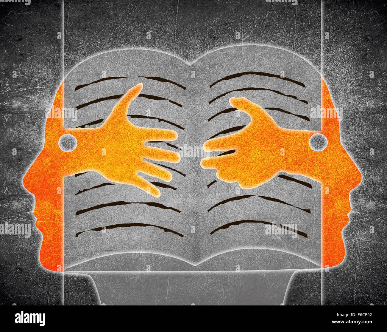 Illustration numérique avec deux personne et livre Photo Stock