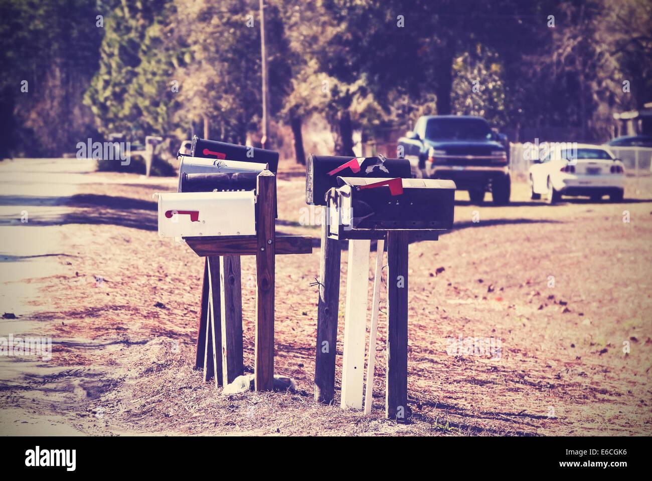 Vintage photo de boîtes aux lettres, milieu rural, USA. Photo Stock