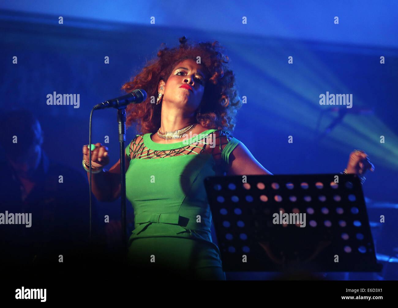 Cologne, Allemagne. 20e Août, 2014. La chanteuse pop américaine Kelis fonctionne à un festival de Photo Stock