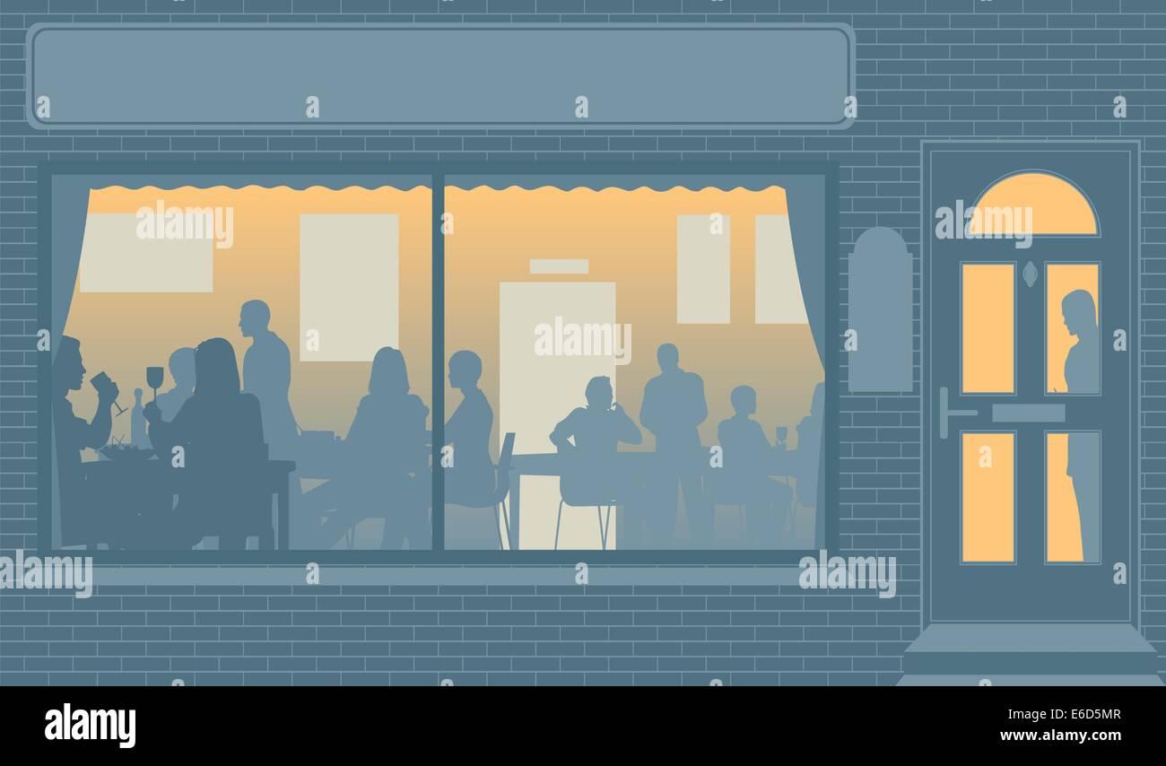 Illustration vectorielle modifiable de personnes mangeant à travers la fenêtre d'un restaurant Photo Stock