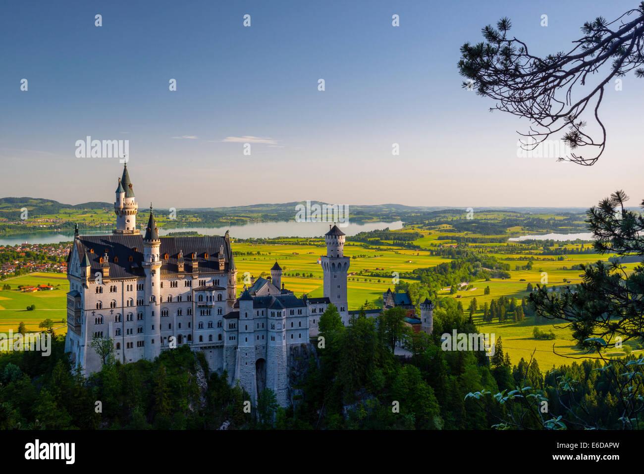 Allemagne, Bavière, souabe, Allgaeu, Schwangau Allgaeu est, Hohenschangau, le château de Neuschwanstein Photo Stock