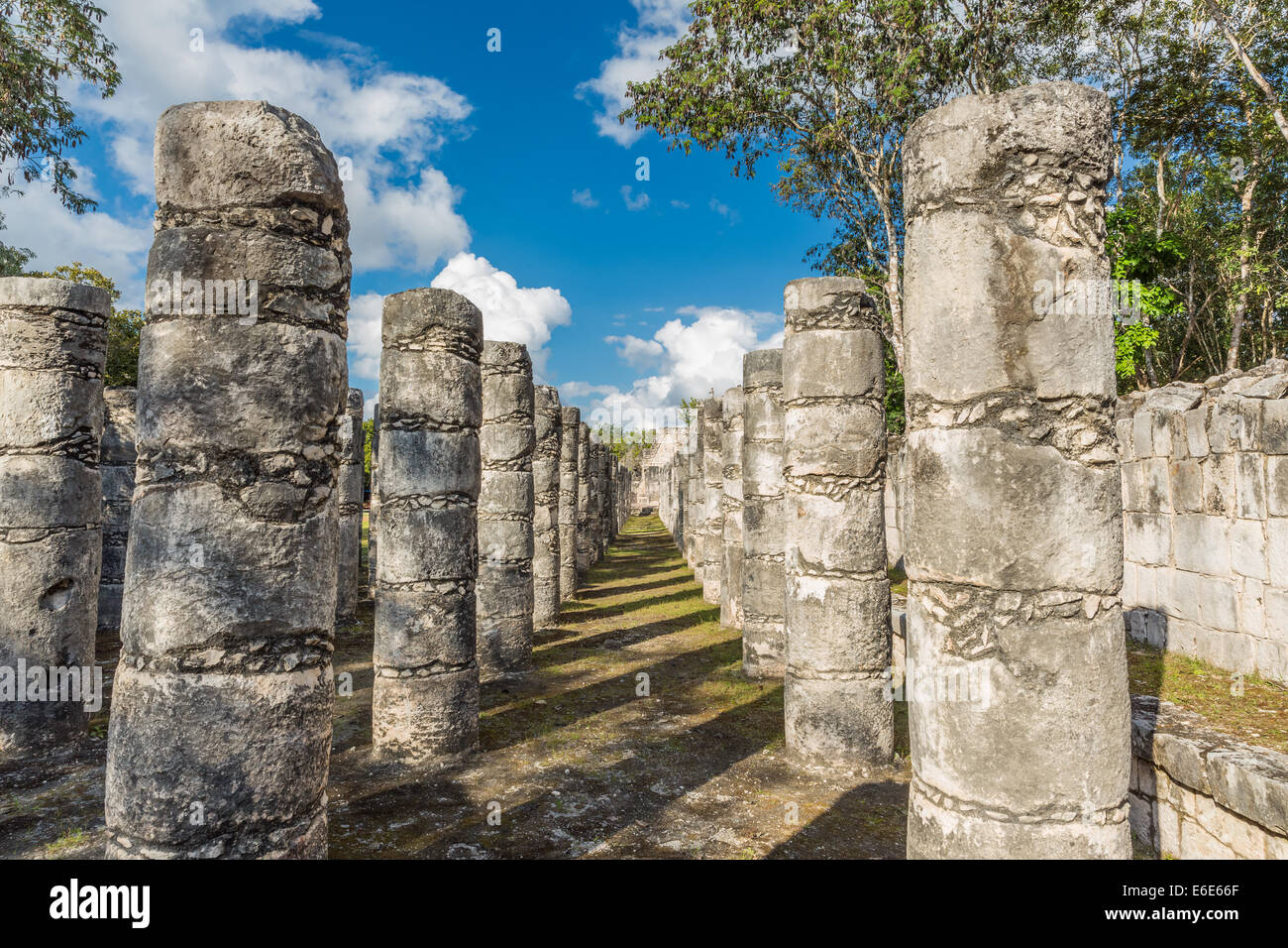 Temple des mille guerriers, Chichen Itza, Mexique Photo Stock