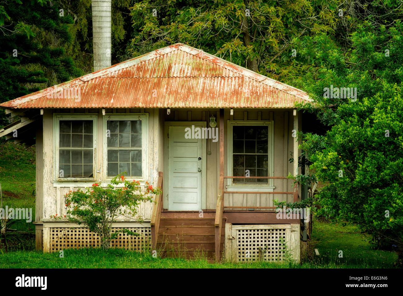 Vieille maison abandonnée à Lanai City, Lanai, Hawaii. Photo Stock