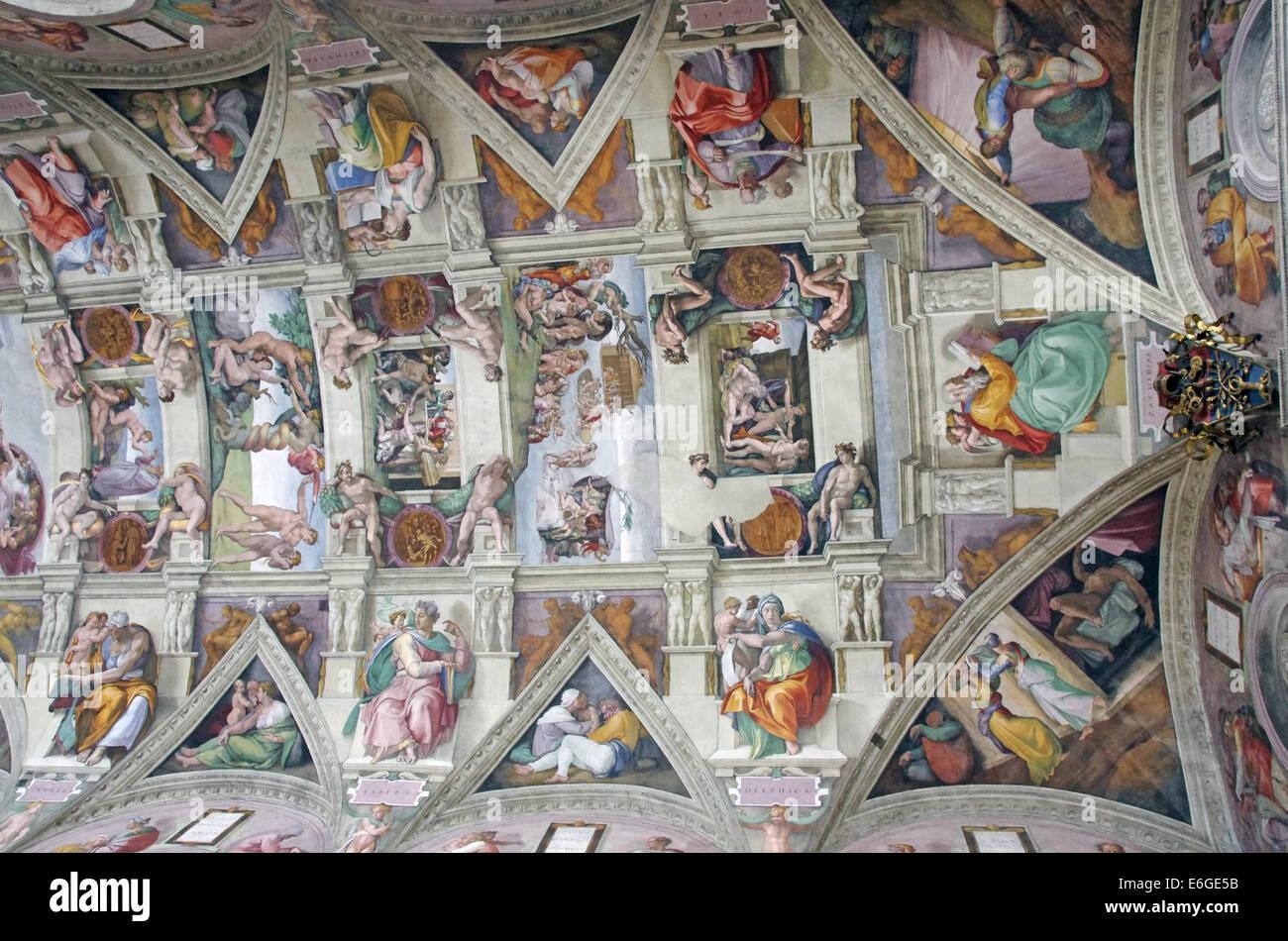 Peintures De Michel Ange Plafond De La Chapelle Sixtine A Rome