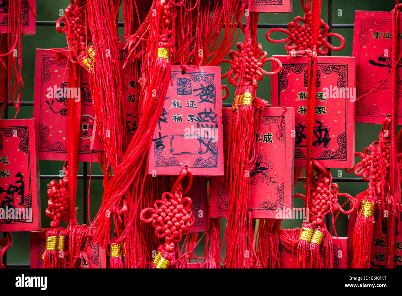 Cartes chinoise rouge qui souhaitent, Beijing, Chine Photo Stock