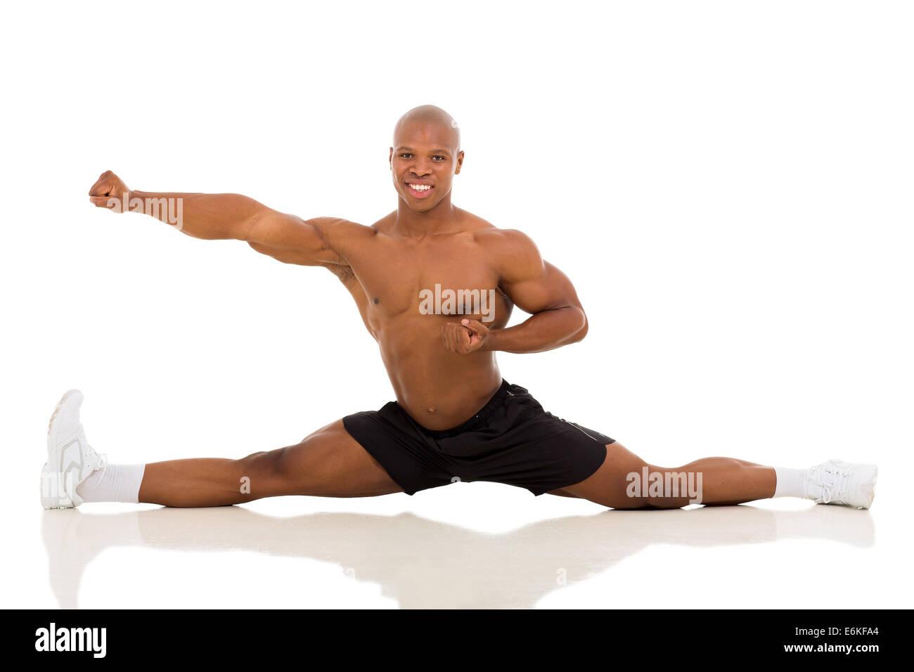 Les jeunes en bonne santé African American man partager isolé sur fond blanc Photo Stock