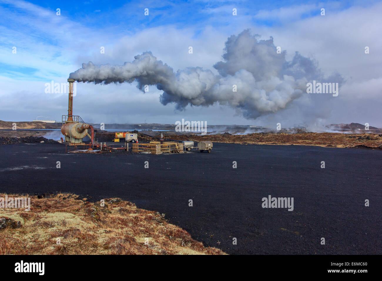 Krisuvik - Kleifarvatn centrale thermique Photo Stock