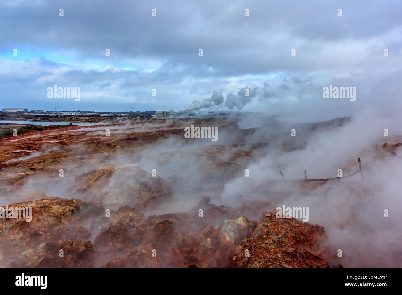 Zone géothermique Gunnuhver Photo Stock