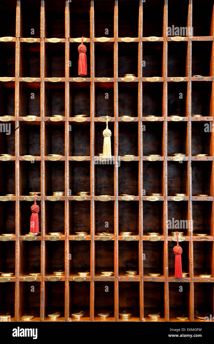Casiers avec des clés, hôtel historique Jerome, Aspen, Colorado USA Photo Stock