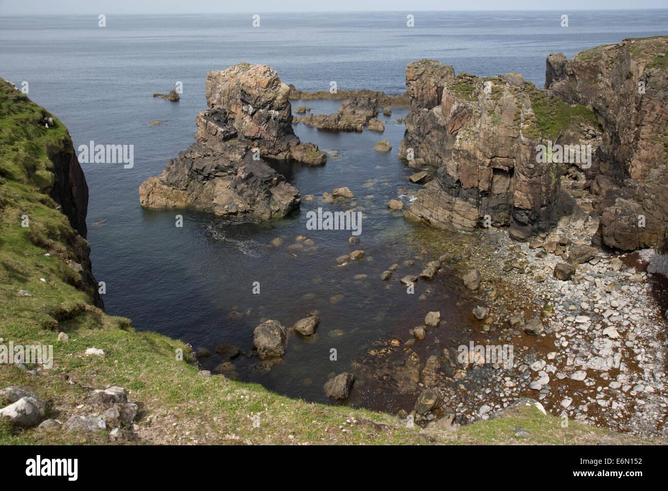 Paysage côtier spectaculaire Arnol Réserve Naturelle RSPB Loch na Muilne Isle Of Lewis Hébrides extérieures Photo Stock